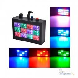 Strobo Flash 12 Led 15w Sensor Rítmico Luz RGB